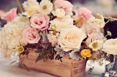 boxed floral centerpieces - photo by Tamiz Photography http://ruffledblog.com/haiku-mill-wedding