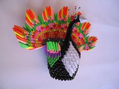 3D Origami - Colorful Peacock