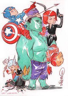 Avengers by Dustin Nguyen Marvel Vs, Marvel Dc Comics, Marvel Heroes, Marvel Funny, Comic Books Art, Comic Art, Captain America, Dustin Nguyen, Chibi