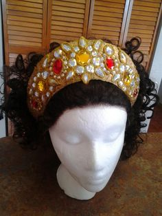 Diana- Ornate Crown.  Constructed out of crafter's felt, lace, wood glue, craft gemstones, hot glue, elastic, and pony beads.
