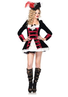 Lead your crew to the treasure in this Women's Charming Pirate Captain Costume…