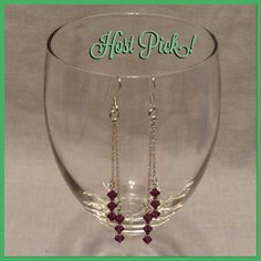 Host PickAmethyst Crystal Earrings 925 Sterling Silver hanging earrings with 12 amethyst crystals. One line is longer then the other so it hangs pretty on the ear. (I also have a pair in sapphire.) Jewelry Earrings