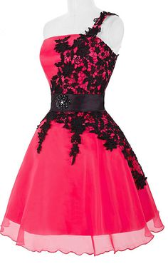 One shoulder Lace Sleeveless Deep Pink Black Short Knee Length Organza Short Ball Gown Homecoming Dress