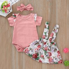 Ruffle Floral Skirt Set An extra OFF is available for new users now Newborn Girl Outfits, Cute Baby Girl Outfits, Kids Outfits Girls, Cute Outfits For Kids, Toddler Outfits, Matching Family Outfits, Kid Outfits, Baby Girl Fashion, Kids Fashion