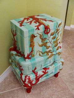 Hand Painted Furniture Projects Tables Trunk Ocean, Coral, Floral, Words, Shipping Crate