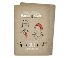 faire part mariage bonnie and clyde rounded