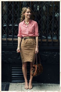 gingham button-down with a khaki skirt