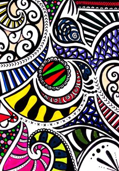 Swirly Gig Art Print by Wealie | Society6  An original fineliner zentangle doodle art design coloured with Caran D'ache watercolour crayons.