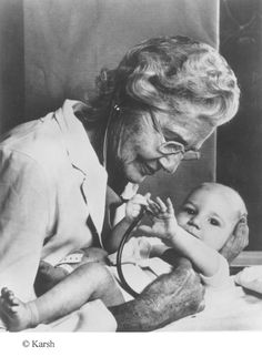 Helen Brooke Taussig (1898-1986) was an American cardiologist, working in Baltimore and Boston, who founded the field of pediatric cardiology. Notably, she is credited with developing the concept for a procedure that would extend the lives of children born with Tetrology of Fallot (also known as blue baby syndrome). This concept was applied in practice as a procedure known as the Blalock-Taussig shunt.