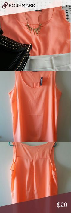 Coral color top Eloquii coral color sleeveless top. Eloquii Tops Blouses