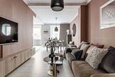 Home Decoration In Pakistan , Mauve Walls, Pink Walls, Wall Painting Living Room, Paint Colors For Living Room, Murs Beiges, Murs Roses, Sala Grande, House Of Beauty, Cool Walls