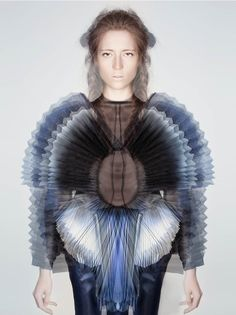 Wearable Art - sculptural fashion with layers of pleated  ombre fabric creating a cocooning structure around the body; 3D fashion // Miriam de Waard