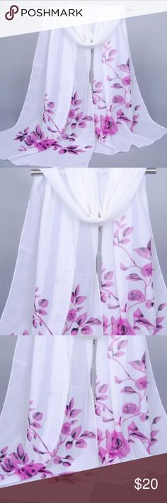 Beautiful Purple & White Chiffon Scarf. Beautiful Purple & White Chiffon Floral Scarf. Flower & Birds Printed Chiffon Scarf. Soft and lightweight. Material: Chiffon. Size: 160cm*50cm. Great accessory for all occasions. Brand New. Accessories Scarves & Wraps