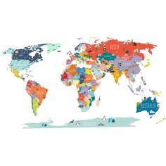 Dry Erase World Map Wall Decals Country Names | Writable wall decals ...