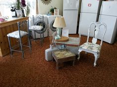 Bar Stools $159 each Vase $25 Lamp $79 Driftwood Table $129 Tea Cart $199 White Chair $149 Metal Basket $15