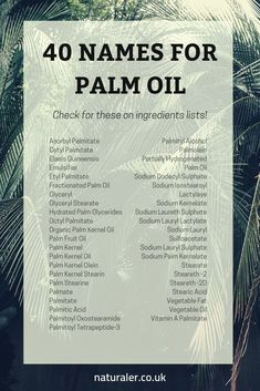 40 Names for Palm Oil - List of alternative names for palm oil to look out for o. - 40 Names for Palm Oil – List of alternative names for palm oil to look out for on ingredients lis - Alternative Names, Plantation, Green Life, Sustainable Living, Sustainable Products, Sustainable Energy, Natural Living, Zero Waste, Just In Case