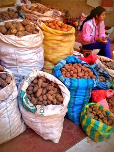 Potatoes in a market in Cusco (Mercado de Wanchaq), Peru