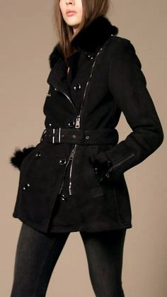 Burberry shearling military jacket