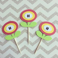Items similar to 1 Dozen Mario Fire Power Cupcake Picks- birthday, mario party on Etsy Bolo Super Mario, Super Mario Birthday, Mario Birthday Party, Super Mario Party, Halloween Birthday, Super Mario Bros, Mario Crafts, Mario Y Luigi, Nintendo Party
