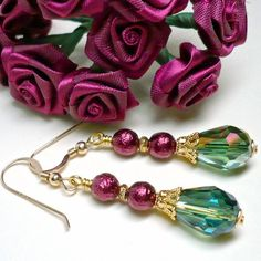 Burgundy Pearl and Green Vitrail Crystal Teardrop Holiday #Earrings #Handmade by #KatsAllThat  http://www.artfire.com/ext/shop/product_view/KatsAllThat/5190233