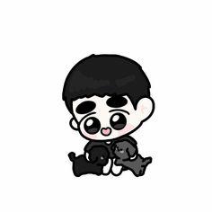 Kaisoo, Kyungsoo, Exo Anime, Exo Fan Art, Exo Do, Kpop Fanart, Chibi, Mickey Mouse, Disney Characters