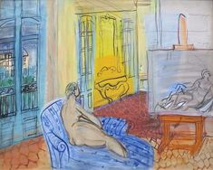 Raoul Dufy (French, 1877-1953) - A Model in the Studio on the Place Arago in Perpignan, 1949 (Oil on canvas. MuMa) - - This work depicts Raoul Dufy's studio in Place Arago, one of two studios that the artist occupied in Perpignan during the 1940s. Whilst the theme of the studio as a subject recurs in Dufy's paintings at regular intervals, the Perpignan series contains the largest number of paintings and their subjects became increasingly personal. The scene depicted is intimate and domestic…