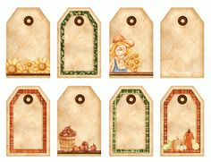 Free printable tags from the Happy Harvest fabric line and book, by Kelly Mueller of The Wooden Bear.  More free printables at www.thewoodenbear.com!