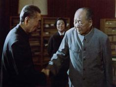 Supposedly the last photos taken of Mao shaking hands with Zhou En Lai. The girl smiling at the background indicates the meeting of the two is amicable. Mao's feeling is indescribable judging from his expression. He cannot avoid shaking hands as Zhou will be heading into cancel treatment right after this handshake. This can be their last hand shake, after half century's cooperation and internal struggle. Zhou, on the other hand, looks sharply into Mao.