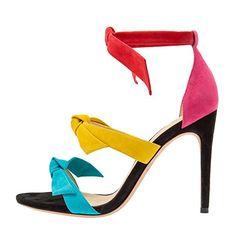 Damen Open Toe Sommer Sandalen High-Heels Stiletto Knöchelriemchen Mehrfarbig EU40 - Sandalen für frauen (*Partner-Link)