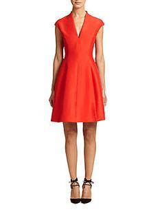 04f794996c Halston Heritage - Faille Cap-Sleeve Dress. Red Skater ...