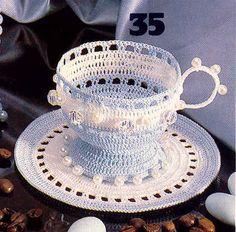 Crochet tea cup + diagrama