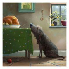 Temptation - Sunday Roast - Art Print By Stephen Hanson dessin Art And Illustration, Square Art, Sunday Roast, Wow Art, Dog Paintings, Whimsical Art, Illustrators, Street Art, Art Prints