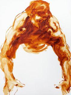 Extra Large Male Figure Painting burnt sienna by derekoverfieldart