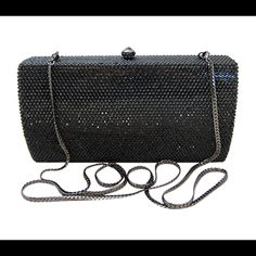 c9bb4c801c46 This Anthony David crystal clutch evening purse has a solid metal frame  with a titanium electroplated