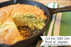 Cast Iron Skillet Cornbread with Jalapenos
