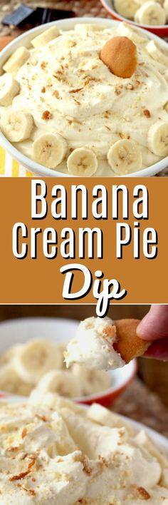 This Banana Cream Pie Dip is sweet, silky, smooth, creamy and irresistible! Everything you love in a banana cream pie recipe but in a super easy and quick dip. With only a handful of ingredients, this no-bake dip is the perfect sweet treat for just about Dessert Dips, Köstliche Desserts, Delicious Desserts, Dessert Recipes, Appetizer Dessert, Appetizers, Best Banana Bread, Chocolate Chip Banana Bread, Chocolate Cream