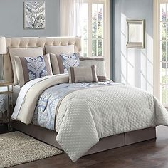 Beautify your bedroom's decor with the sweet and sophisticated Maribelle 8-Piece Jacquard Comforter Set. Adorned with a classic style, jacquard print and quilting blue, ivory and khaki hues, the charming bedding brings a delightful feel to any room.