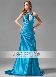 A-Line/Princess Ruffle  Beading Halter Regular Straps Evening Dress Evening Dress