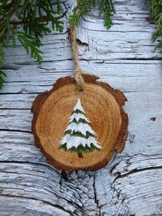 Snowy Fir Tree: Rustic Tree Ornament by AliceCEades on Etsy