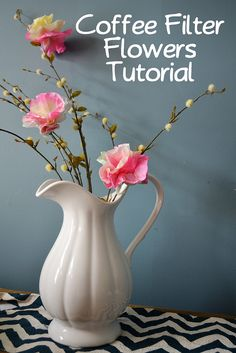 coffee filter flowers tutorial--craft with things you have in the pantry EASY & CUTE!    from The Hollie Rogue blog
