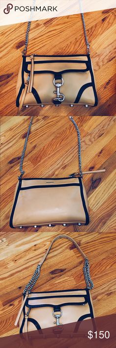"""Rebecca Minkoff MAC purse Gorgeous Rebecca Minkoff Morning After Clutch. Cream colored with black piping. Used to travel and in good condition.  Can be worn 3 ways: cross body, clutch, and shorter shoulder bag!!! Make an offer!!!  11""""L X 2""""D X 8""""H with a 21"""" chain Rebecca Minkoff Bags Crossbody Bags"""
