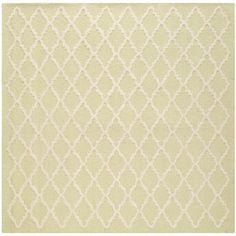 Safavieh Handmade Cambridge Moroccan Light-Green Small-Diamond-Pattern Wool Rug (6' Square)