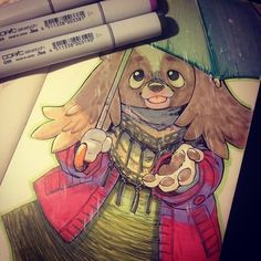 This drawing as a reward for pledgers in her project.Daily Dogs By: Elisa Kwon