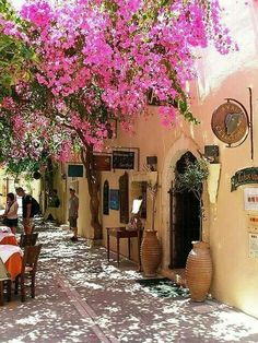Blossoming street in Rethymnon, Crete