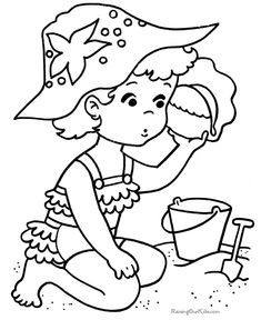 At the Beach - Dozens of FREE summer fun coloring pages!
