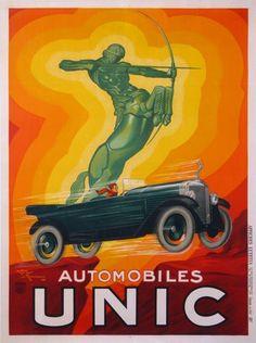 Unic Car Art Deco Poster by Henri Lemonnier