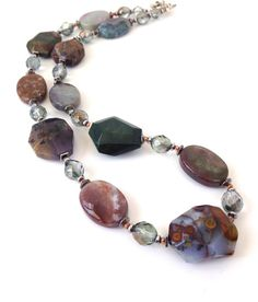 Multi Stone Necklace Earrings: Chunky by SRyanJewelryDesigns