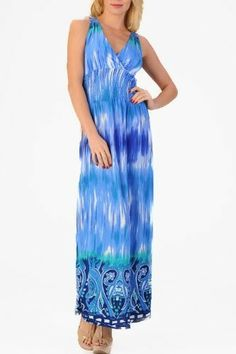 Women's waterfall maxi dress with a crochet accent and printed trim (8115, Teal, S) - Casual