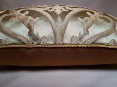 Green & Gold Silk Jacquard Rubelli Fabric Throw Pillow Cushion
