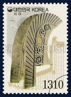 Definitive Postage Stamp, The ridge-end tile, Relic & National treasure, DarkKhaki, 2002 01 15, 보통우표, 2002년 1월 15일, 2198, 치미, postage 우표
